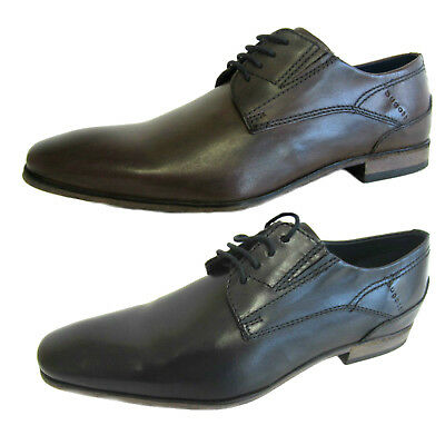 Mens Bugatti Rounded Toe Formal Brogue Inspired Lace Up Leather Shoes 52901