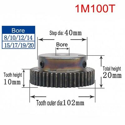 1Pcs 1Mod 100T 45# Steel Spur Motor Pinion Gear Outer Dia 102mm Bore 8-20mm
