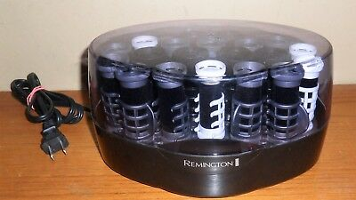Vintage REMINGTON Black Velvet ELECTRIC Hair Curlers Hot ROLLERS w CLIPS~KF-20-1
