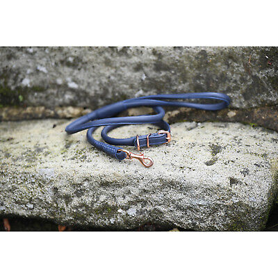Woofmasta Dog Lead Rolled Leather Navy