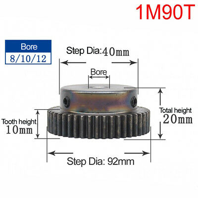 1Pcs 1Mod 90T 45# Steel Spur Gear Motor Pinion Gear Outer Dia 92mm Bore 8mm