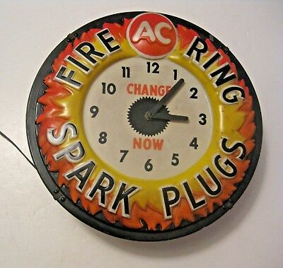 Rare Vintage Ac Fire Ring Spark Plugs Advertising Gas Station Lighted Clock Sign