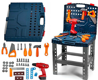 Toddler Toy Realistic Tools Kit Work Bench Kids Sets Construction Electric Drill