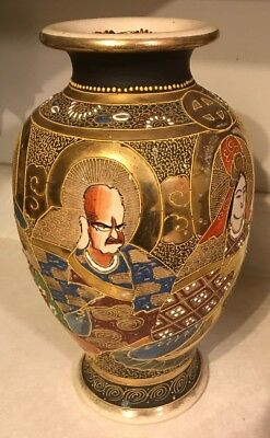 Antique Japanese Satsuma Vase Moriage Gold Raised Enamel Used to Be Lamp 1920's