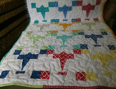 Handmade Boy Girl Pieced Airplane Baby Crib Throw Lap Quilt Many Colors Blanket