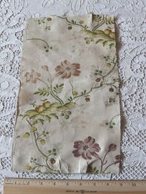 """French Antique 18thC Floral Brocaded Silk Fabric~Design,Collectors~L-13"""" X W-8"""""""