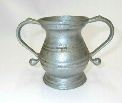 "Pewter Footed Water Wine Vase Ornate Double Handle 4"" Miniature Rare Vintage"