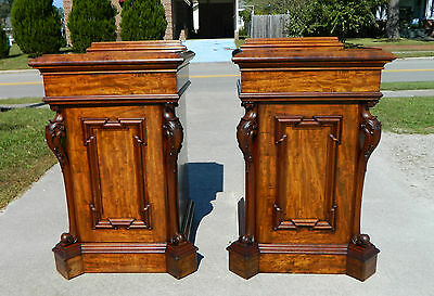 Pair Mahogany Victorian Side Cabinets with Fitted Interiors 19th Century