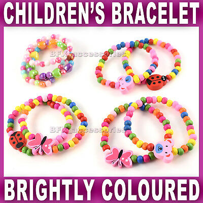 GIRLS BRACELET beaded butterfly ladybug ladybird bear Kids children stretch NEW