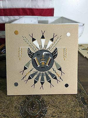 Chiricanua Sun Navajo Native American Indian Sand Painting Dave Benally N.m