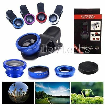 3 in 1 Fisheye Wide Angle Macro Lens Kit Clip-on Cell Phone Camera Lens Kits