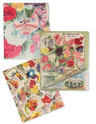 Victorian Trading Co 6 Vintage Seed Packet Manila Art Folders