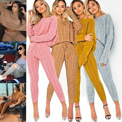 Womens Ladies Cable Knitted Co-ord Bottoms Cropped Top Suit Loungewear Tracksuit