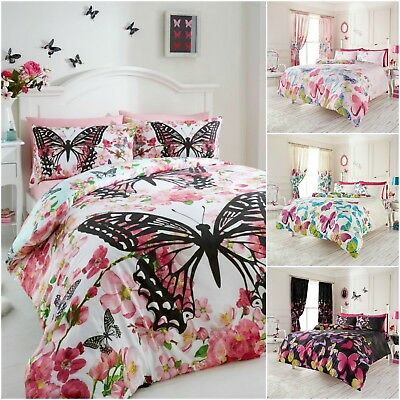 Duvet Quilt Cover Reversible Butterfly Poly-Cotton Bedding Single Double King