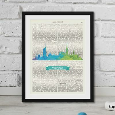 Vienna Skyline quote On Vintage Dictionary Book Page Print Antique Large FRAMED