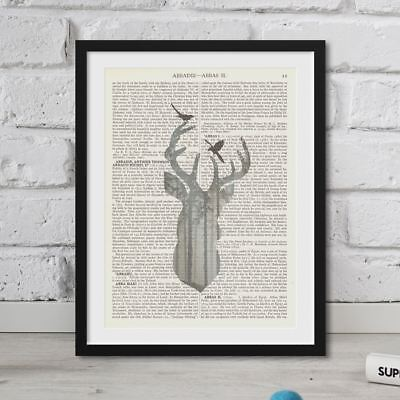 Vintage Dictionary Deer Forest Picture Print Page Art On Book FRAMED