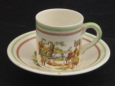 Coffee can and saucer Portland Pottery cobridge with coaching scene c1940