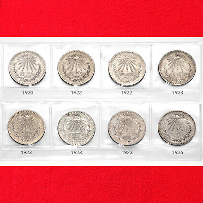 Mexico Silver 1 Peso Cap & Rays Coin Set (8 Silver Coins) (All Silver Issue)