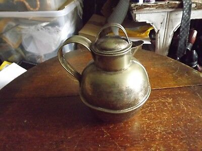 Antique Silver Plate  'jersey  Dairy Jug 7In Tall With Lid Tarnished Milk Cream