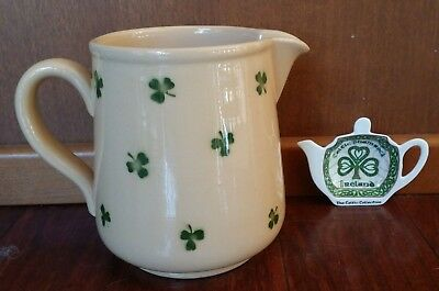 RARE Vintage STONEWARE PITCHER SHAMROCKS CELTIC TEABAG HOLDER IRELAND ENGLAND