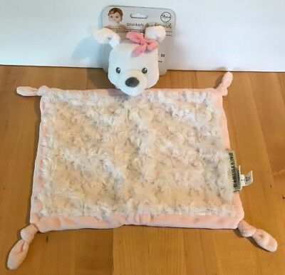 NWT BLANKETs BEYOND PUPPY DOG PINK White FAUX FUR Baby Blanket Lovey Nunu Bow