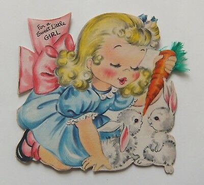 Vintage Hallmark Birthday Card 1949 Girl Feeding Carrot To Rabbits Die Cut
