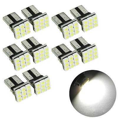 10X T10 LED 9SMD White Car License Plate Light Tail Bulb 2825 192 194 168 W5W CN