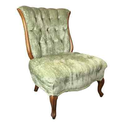 Antique Channel-Back Wood Accent Chair Sea-Foam Green Teal Tufted Upholstery