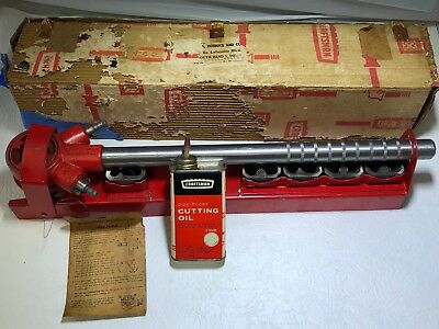 Craftsman Pipe Threader Set - 5 Dies In Original Oil Tin Metal Container and Box