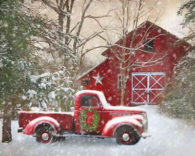 Holidays Christmas Cross Stitch Pattern, Merry Christmas Red Truck
