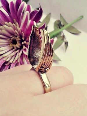 Antique bronze gold greek wing ring - Costume jewellery one size