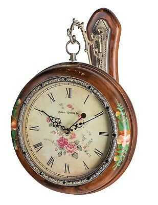 Victorian Trading Co Double Sided Wooden Hanging Clock Pocket Watch