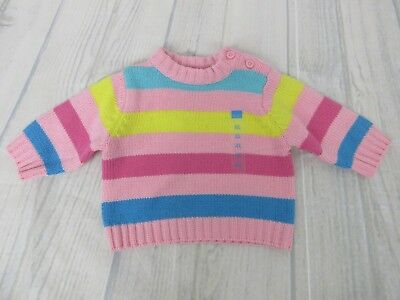 58a1cc4a9f59 THE CHILDRENS PLACE 0-3 months Sweater Soft Baby Pink Striped Zip ...