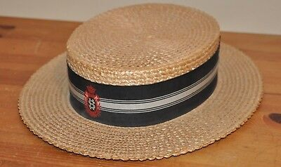 Vintage School Boater Rigid Straw Hat by Ridgmont
