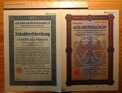 Weimar Germany, 1925 Replacement 'double Bond' - 50 Reichsmark Nice Au - 34385