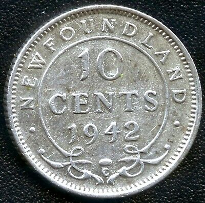 1942 Newfoundland 10 Cent Coin (2.33 Grams .925 Silver)