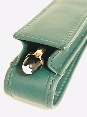Green Single Magnetic Pen Case/Pouch. Real Soft Leather Hand Made