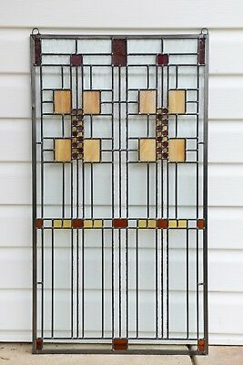 "20"" x 36"" Stained Glass Window Panel Frank Lloyd Wright Prairie Style panel"