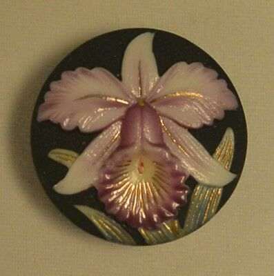 Vintage Arita Porcelain Button with Pink Orchid