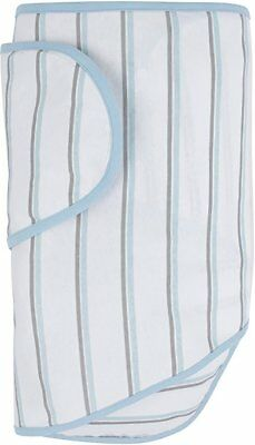 Miracle Blanket Swaddle White with Blue and Gray Stripes NEW