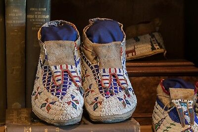 Sioux Beaded Moccasins Antique Sinew Plains Indian Native American 19th Century