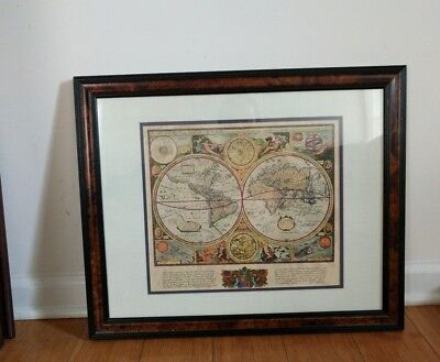 """vintage Map print """"A New And Accvrat Map of The World"""" 1651"""