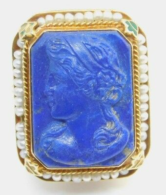 ANTIQUE 14K YELLOW GOLD 14.8x19.6MM CARVED LAPIS SEED PEARLS RING 9.5g SIZE 8.75