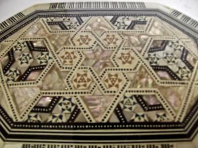 Vintage Hand Crafted Judaica Wood Box Inlaid Mother of Pearl MOP Stars of David