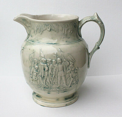 Vintage Embossed Glazed Ceramic Pitcher Colonial People with Flags Sword Cross