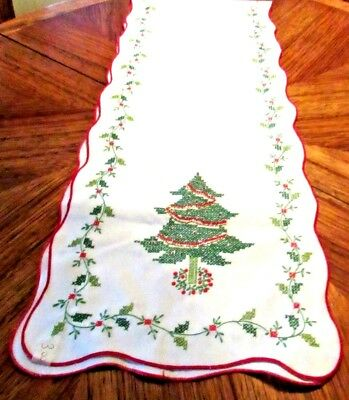 "Vintage Hand Embroidered Holiday Table Runner   Excellent Cotton 13""w x 66""L"