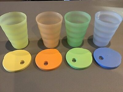 4 Tupperware Tumblers With Straw Lids.  Cups, Very Good Cond.  Fast Shipping~
