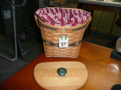 Longaberger 1998 Christmas Collection Green Glad Tidings Basket with Liner, Lid