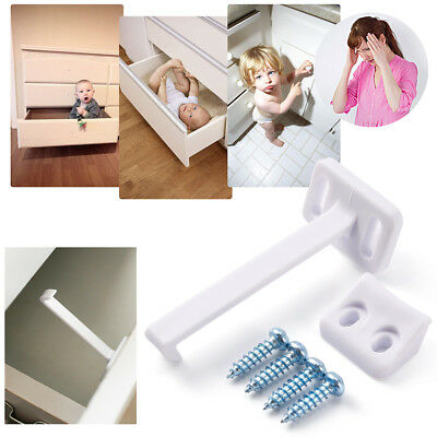Child Safety Catch Child Lock Cupboard Door Drawer Lock Catches + Screws