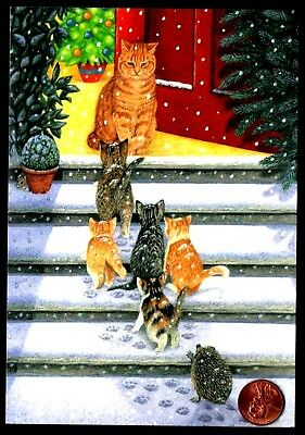 Christmas Cats Kittens Mommy Tabby Hedgehog Door Snow Tree - Greeting Card - NEW